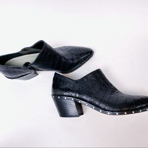 1. STATE Black Croco Leather Bootie Side Zip